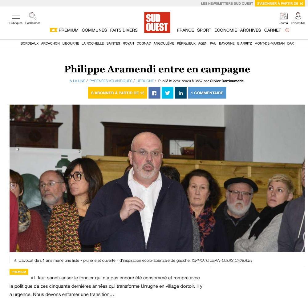 SudOuest Philippe ARAMENDI